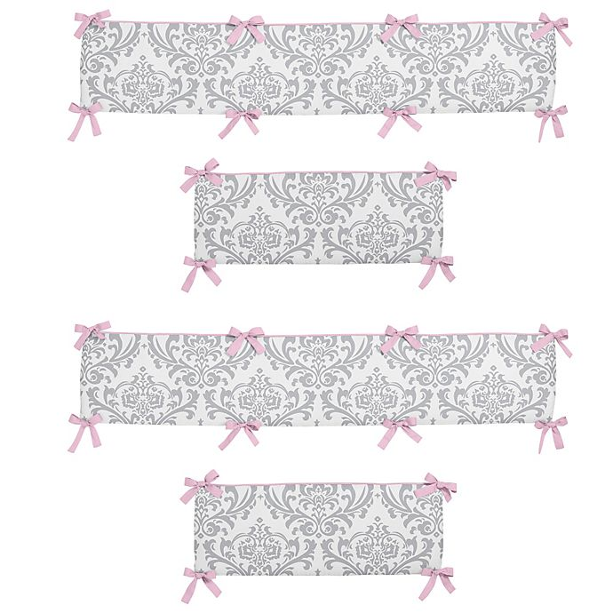 Alternate image 1 for Sweet Jojo Designs Elizabeth Crib Bumper in Pink/Grey