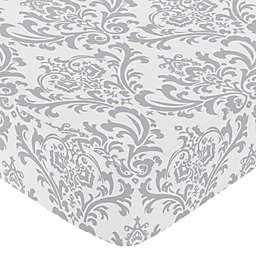 Sweet Jojo Designs Elizabeth Damask Fitted Crib Sheet in Grey/White