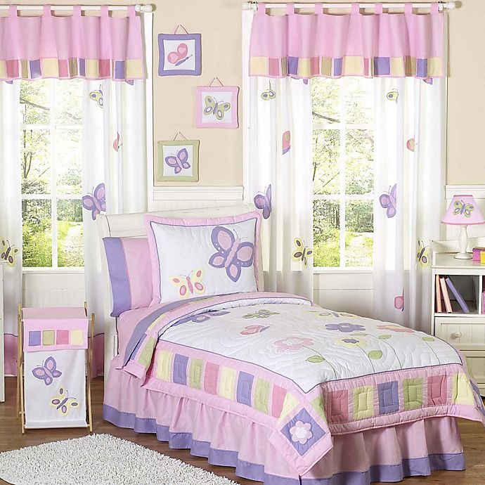 Alternate image 1 for Sweet Jojo Designs Butterfly 4-Piece Twin Bedding Set in Pink/Purple