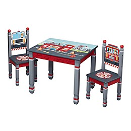 Fantasy Fields© Little Fire Fighters 3-Piece Kids Table and Chairs Set in Red/Multi