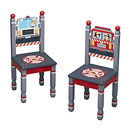 Fantasy Fields© Little Fire Fighters Kids Chairs in Red/Multi (Set of 2)
