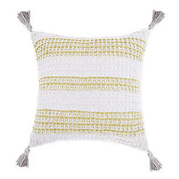 Waffle Striped Square Throw Pillow in Green