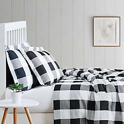 Truly Soft® Buffalo Check 2-Piece Twin XL Duvet Cover Set in Black