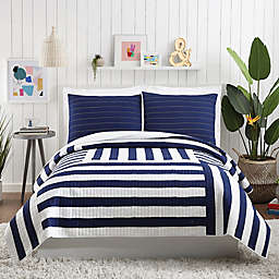 Maker's Collective Block 3-Piece King Quilt Set in Blue