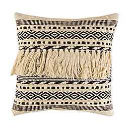 Tasseled Geometric Square Throw Pillow in Ivory/Black
