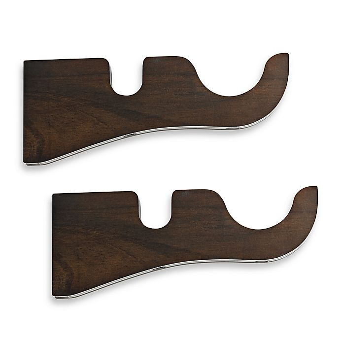 Cambria 174 Premier Wood Double Drapery Bracket In Chocolate Set Of 2 Bed Bath Amp Beyond