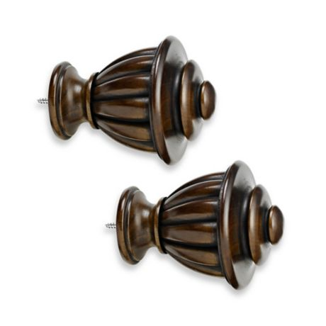 Cambria 174 Premier Wood Urn Finial In Chocolate Set Of 2