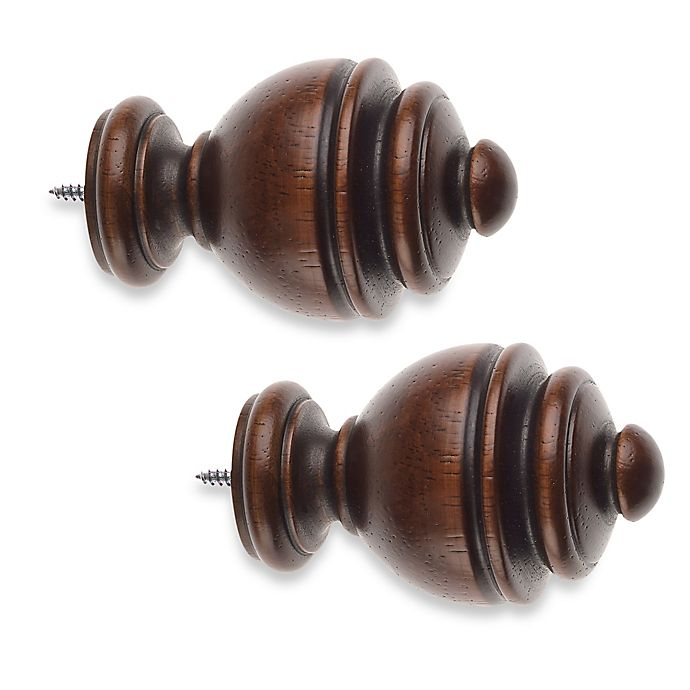 Alternate image 1 for Cambria® Classic Wood Urn Finial in Dark Brown (Set of 2)