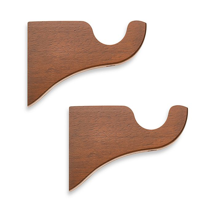 Alternate image 1 for Cambria® Classic Wood Drapery Bracket in Medium Brown (Set of 2)