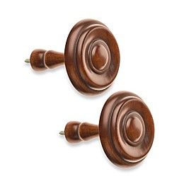 Cambria® Classic Wood Drapery Spindle in Medium Brown (Set of 2)