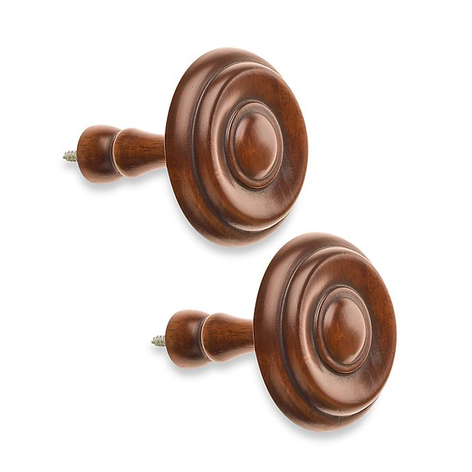 Alternate image 1 for Cambria® Classic Wood Drapery Spindle in Medium Brown (Set of 2)