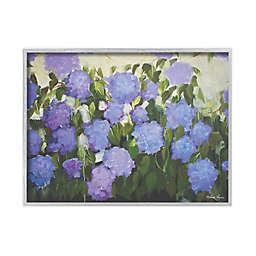 Flower Field 11-Inch x 14-Inch Framed Canvas Wall Art in White