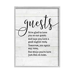 Guests Feel At Home 11-Inch x 14-Inch Framed Canvas Wall Art in White