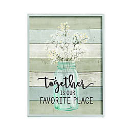 """""""Together is Our Favorite Place"""" 16-Inch x 20-Inch Framed Wall Art in White"""