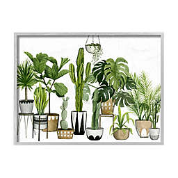 Cacti Succulents Scene 16-Inch x 20-Inch Framed Wall Art in White