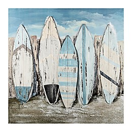 Weathered Surfboards 36-Inch Square Canvas Wall Art
