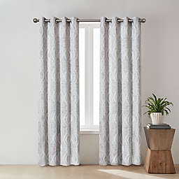 O&O by Olivia & Oliver™ Zander Geo 95-Inch Grommet Curtain Panel in Silver (Single)
