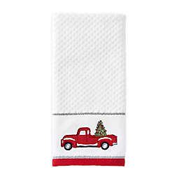 Holiday Trucks Hand Towel in White