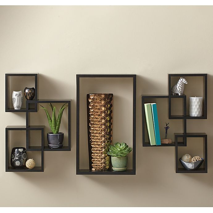 Alternate image 1 for 7-Piece Interlocking Wall Shelf Set in Cosmo Black