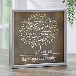 Tree of Life Personalized Grey LED Light Shadow Box Collection