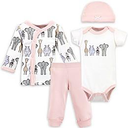 Hudson Baby® Preemie 4-Piece Safari Gift Set in Pink/White