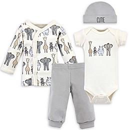 Hudson Baby® Preemie 4-Piece Safari Gift Set in Beige/Grey
