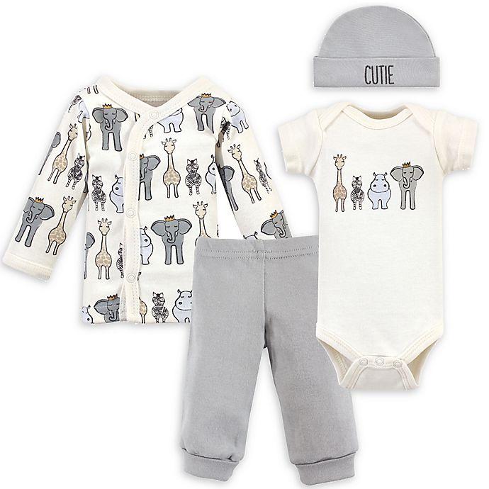 Alternate image 1 for Hudson Baby® Preemie 4-Piece Safari Gift Set in Beige/Grey