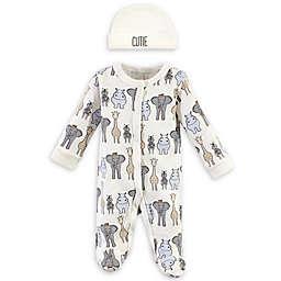 Hudson Baby® Preemie 2-Piece Safari Sleeper and Cap Set in Eggshell