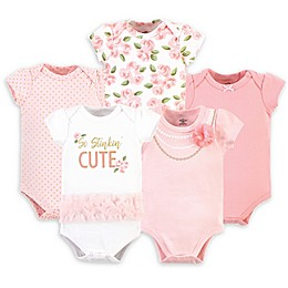 Little Treasure Size 9-12M 5-Pack So Stinkin' Cute Bodysuits in Pink/White