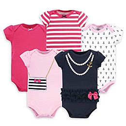 Little Treasure 5-Pack Nautical Bodysuits in in Pink/Navy