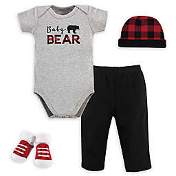 Little Treasure Size 0-6M 4-Piece Baby Bear Gift Set in Black/Red