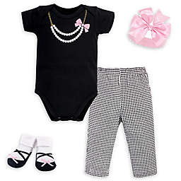 Little Treasure™ Size 0-6M 4-Piece Pearls Gift Set in Black/White