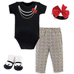 Little Treasure™ Size 0-6M 4-Piece Leopard Gift Set in Black/Beige