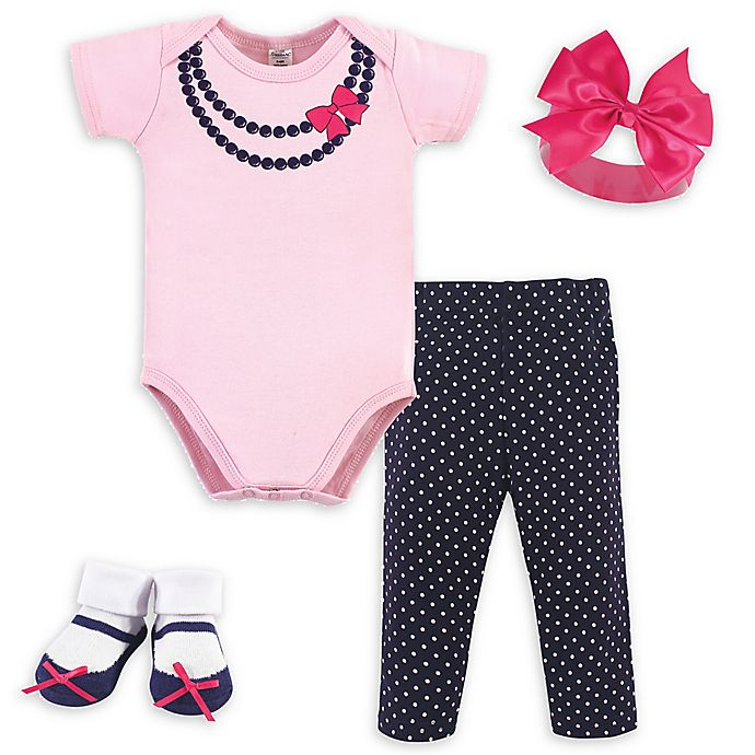 Alternate image 1 for Little Treasure™ Size 0-6M 4-Piece Necklace Gift Set in Pink/Navy