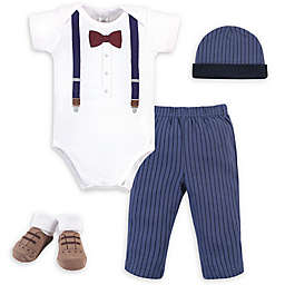 Little Treasure™ Size 0-6M 4-Piece Suspenders Gift Set in Blue/White