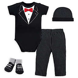 Little Treasure™ Size 0-6M 4-Piece Tuxedo Gift Set in Black