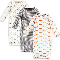 Touched by Nature Size 0-3M 3-Pack Foxes Organic Cotton Zipper Gowns in White/Grey