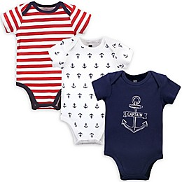 Hudson Baby® 3-Pack Captain Bodysuits in Blue/Red/White