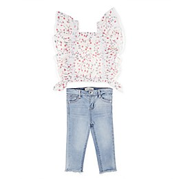 Jessica Simpson 2-Piece Floral Ruffle Tank Top and Jean Set