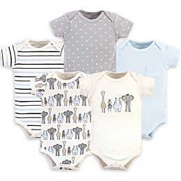 Hudson Baby® 5-Pack Royal Safari Short Sleeve Bodysuits in Blue