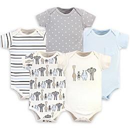 Hudson Baby® 5-Pack Royal Safari Short Sleeve Bodysuits in Blue