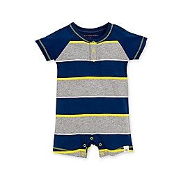 Burt's Bees Baby® Tipped Rugby Stripe Organic Cotton Romper in Ocean