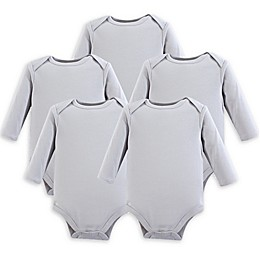 Luvable Friends® 5-Pack Long-Sleeve Bodysuits in Grey