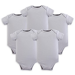 Luvable Friends® 5-Pack Short Sleeve Bodysuits in Grey