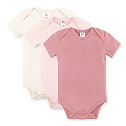 Colored Organics 3-Pack Short Sleeve Organic Cotton Bodysuits in Blossom