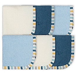 Gerber® 6-Pack Woven Washcloths in Blue/White