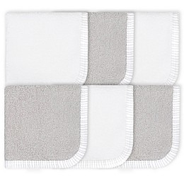 Gerber® 6-Pack Woven Washcloths in Grey/White