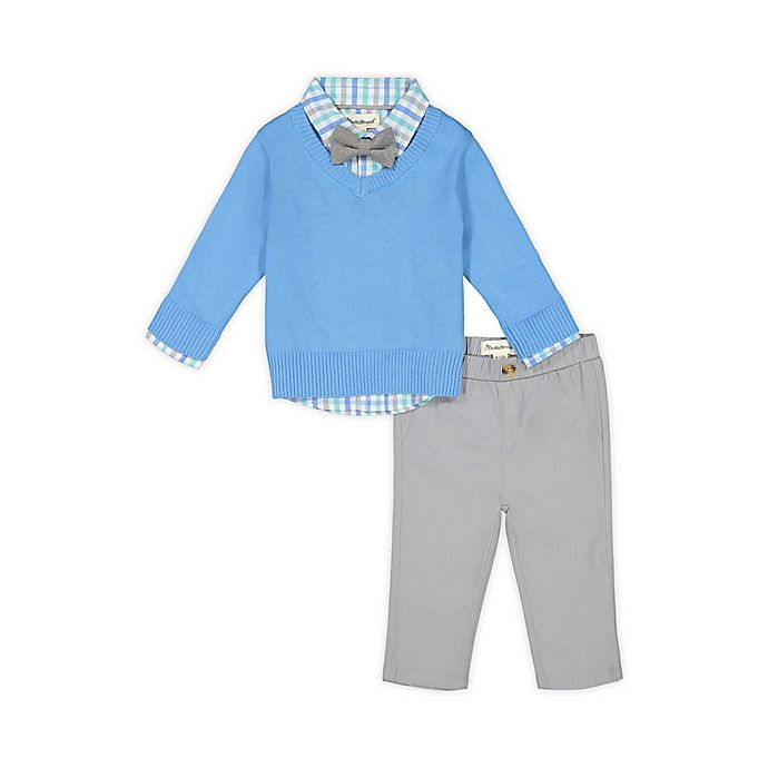 Alternate image 1 for Beetle & Thread® 4-Piece Plaid Shirt, Sweater, Pant and Bow Tie Set