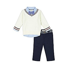 Beetle & Thread® 4-Piece Striped Shirt, Sweater, Pant and Bow Tie Set
