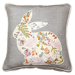 Embroidered Bunny Square Throw Pillow in Grey